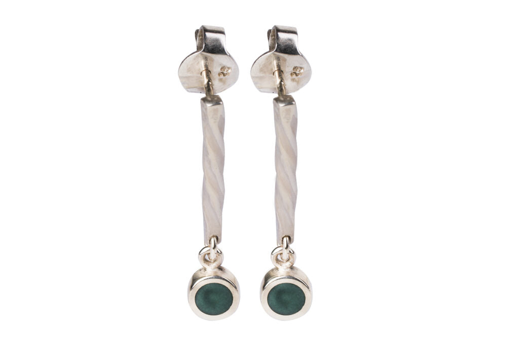 Silver earrings inlaid with natural aventurine