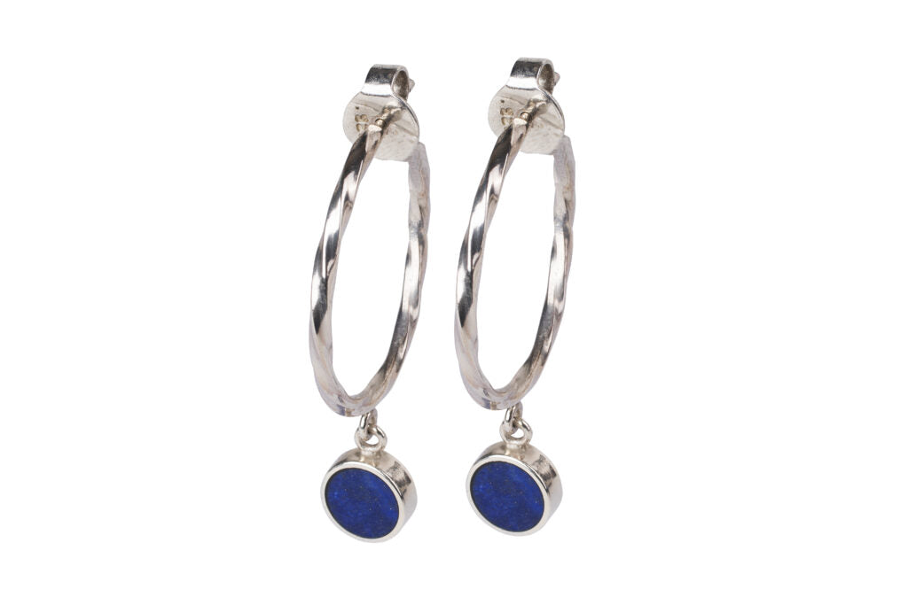 Silver earrings for women with lapis lazuli inlay-Pietra Dura