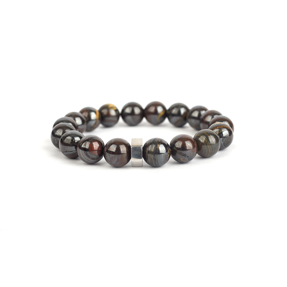Gemstone bracelet for men, tiger iron bracelet
