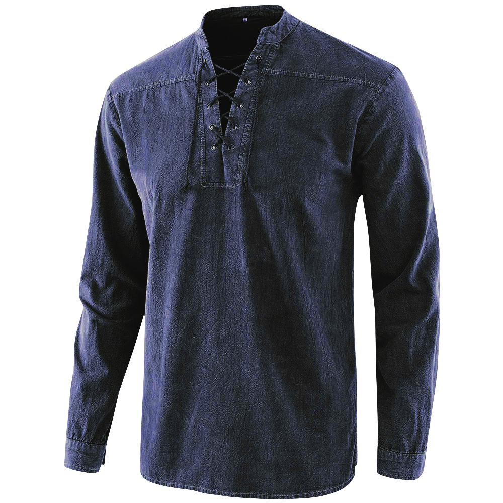 2020 Men Gothic Retro T Shirt Lace-up V-neck Denim Long Sleeve Tee Shirt Loose Tops