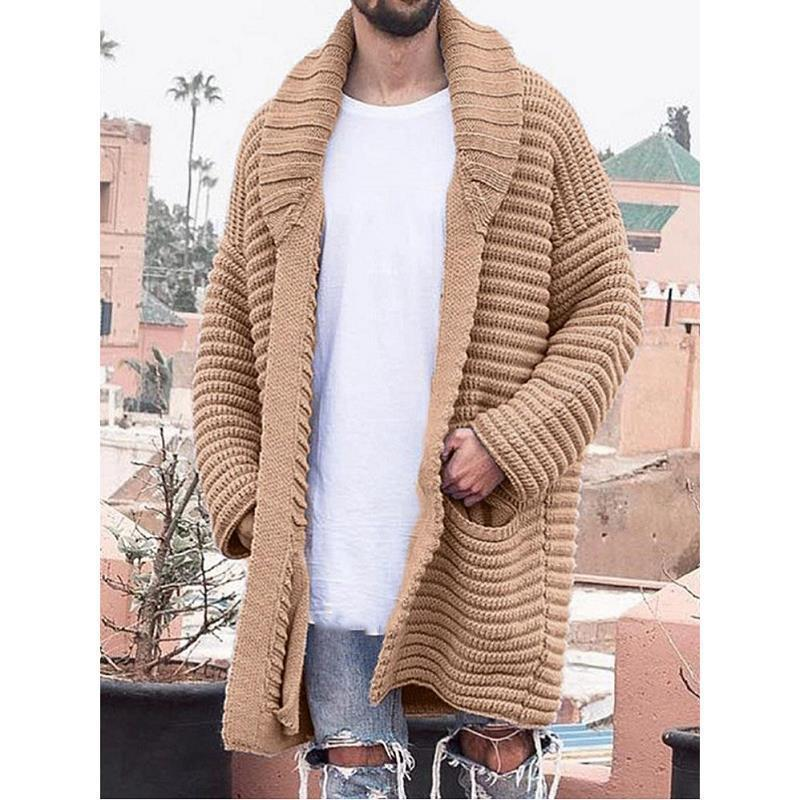 Autumn Winter Men's Cardigan Knitted Medium Length Long Sleeve Lapel Pocket Solid Thicken Warm Sweater Casual Coat