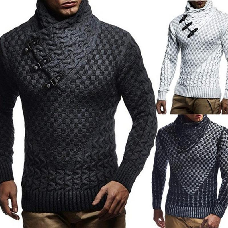Mens Winter Warm High Collar Sweater Splicing Long Slim Pullover Knitted Jumper Tops Sweater