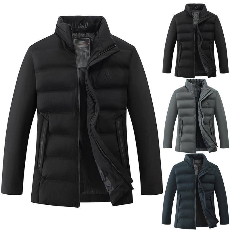 Mens Solid Color Down Jackets Fashion Trend Thick Stand Collar Zipper Winter Coats Designer Male Casual Pockets Slim Warm Outerwear