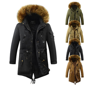 Modern Jacket for Men with Hood with Faux Fur and Plush Lining