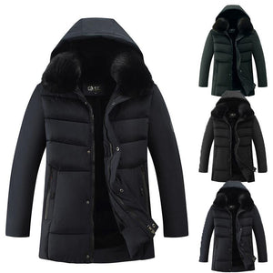 2020 Autumn And Winter New Men's Down Cotton Large Fur Collar Hooded Coat