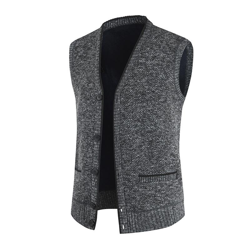 Sleeveless Sweater Men Vintage Button Up Cardigan Vest Knitted Sweater Vest V Neck Sweatercoat Tricot Waistcoat Sweater Jacket
