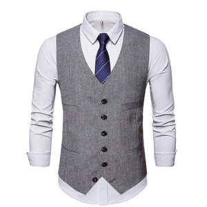 Vintage Vest Men Casual Gilet De Costume British Style Formal Waistcoat