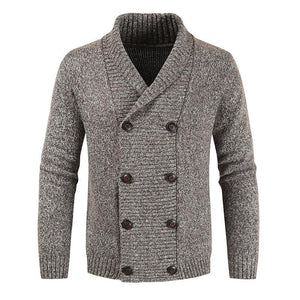 Mens Double-Breasted Knitted Warm Shawl Collar Cardigan Sweater