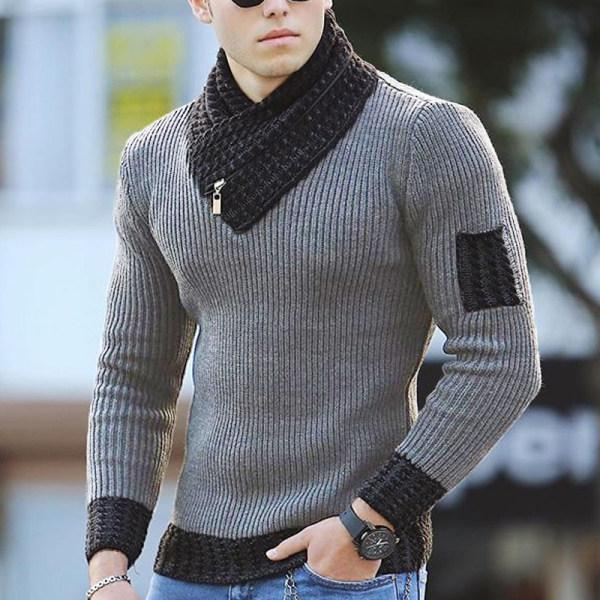 Men's fashionable pure color V-neck knit sweater