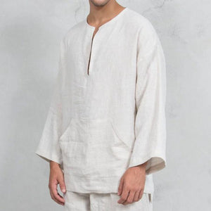 Men's Linen Loose Wide Sleeve Shirt