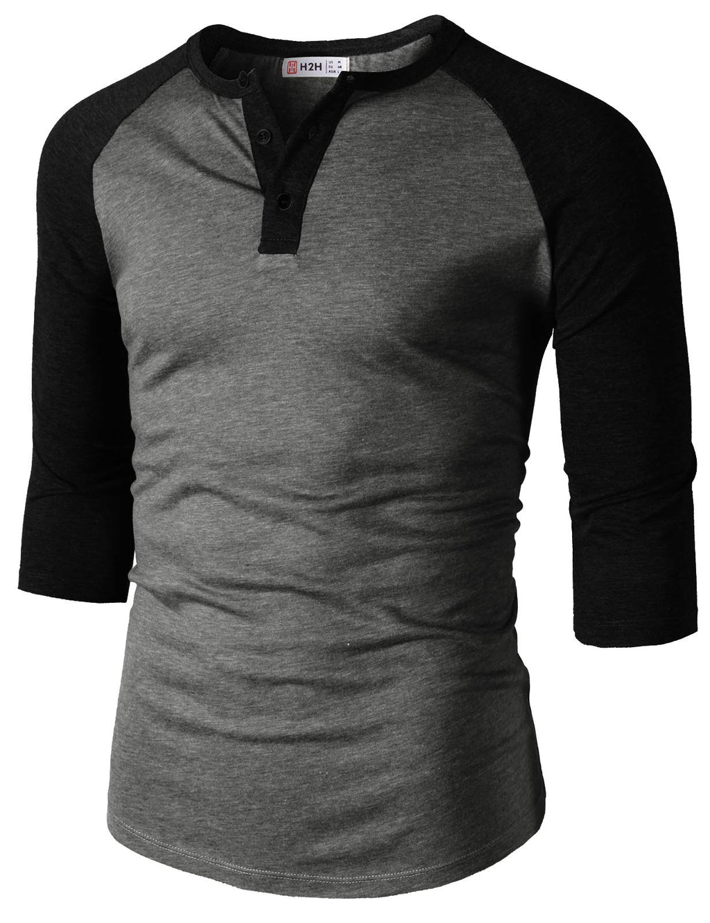 Mens Casual Premium Slim Fit T-Shirts Henley 3/4 Sleeve Spring Summer Clothes