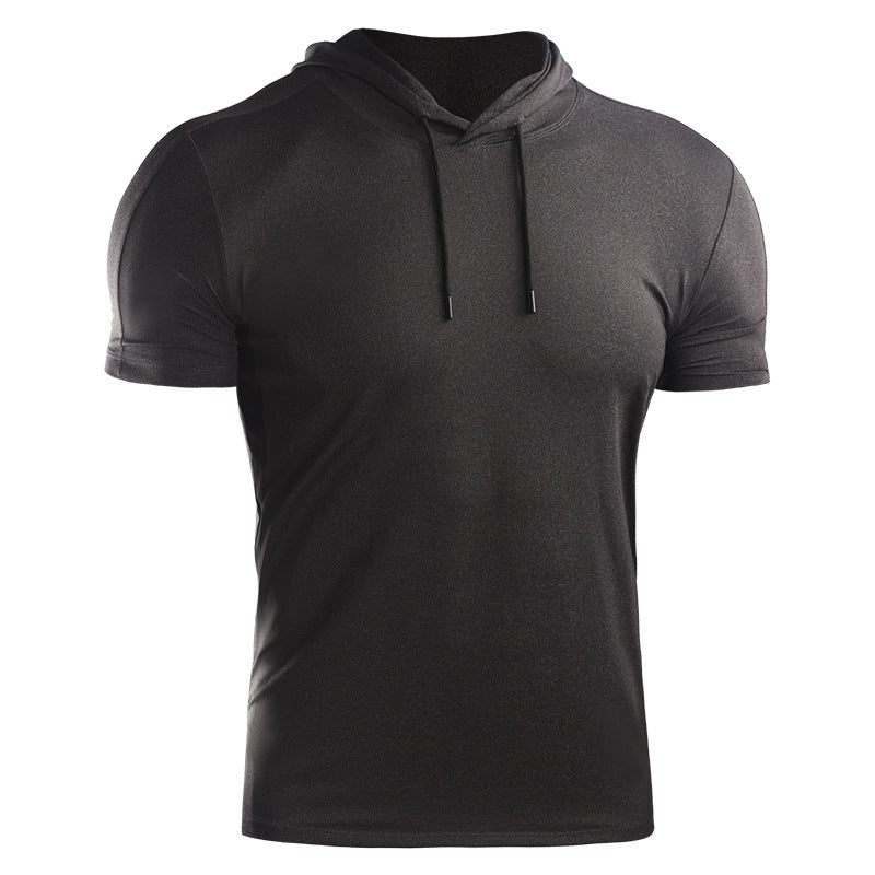 Men's Dry Fit Athletic Workout Running Shirts Short Sleeve With Hoode