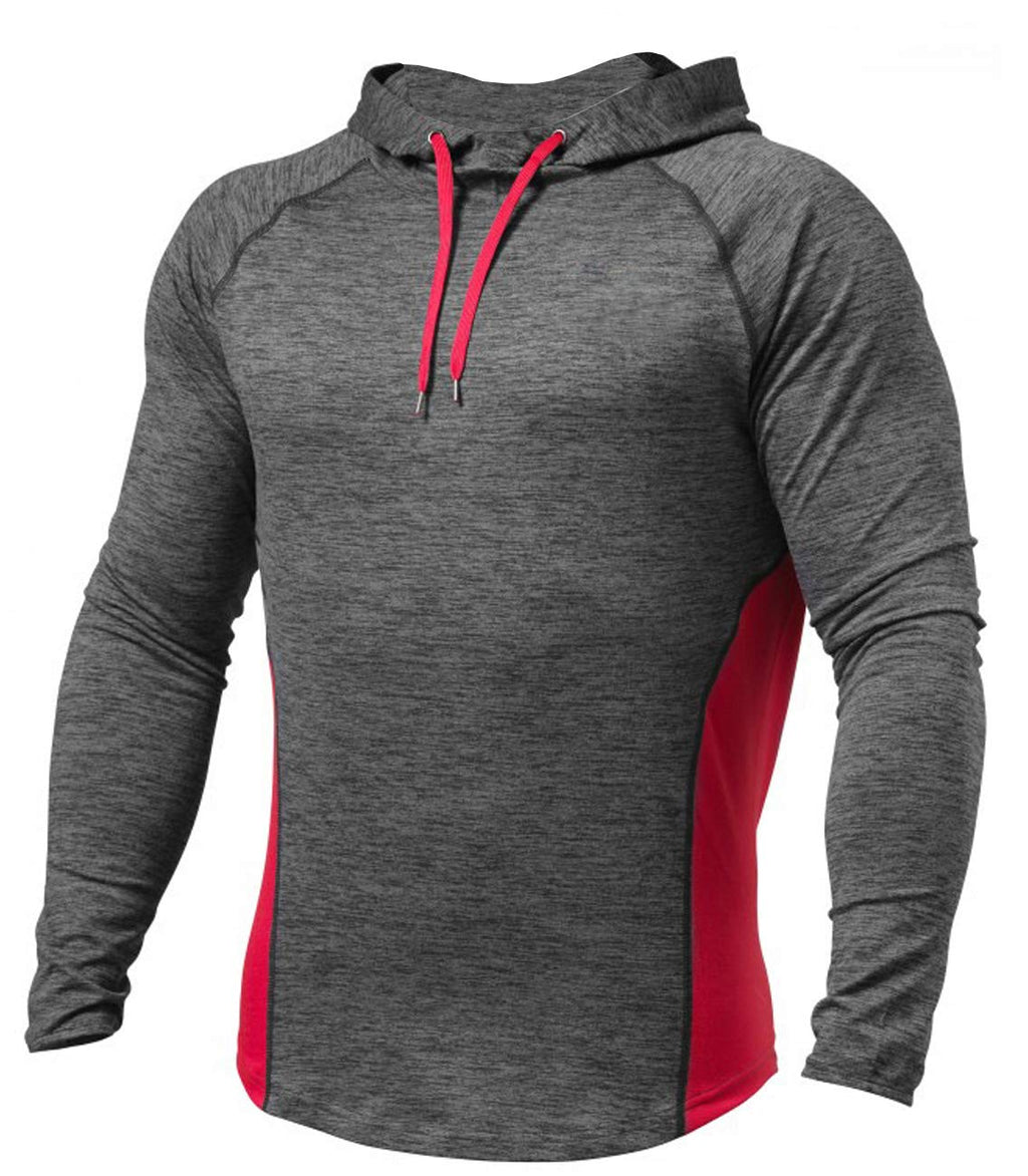Men's Workout Hoodie Dry Fit Lightweight Athletic Casual Long Sleeve Pullover Shirts