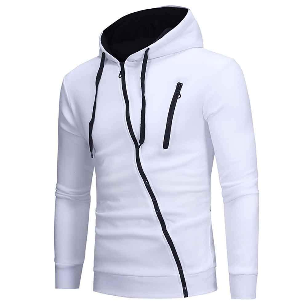 Men's Full-Zip Casual Hooded Shirts - Fashion Zipper Hoodie Long Sleeve Colorblock Top Blouse