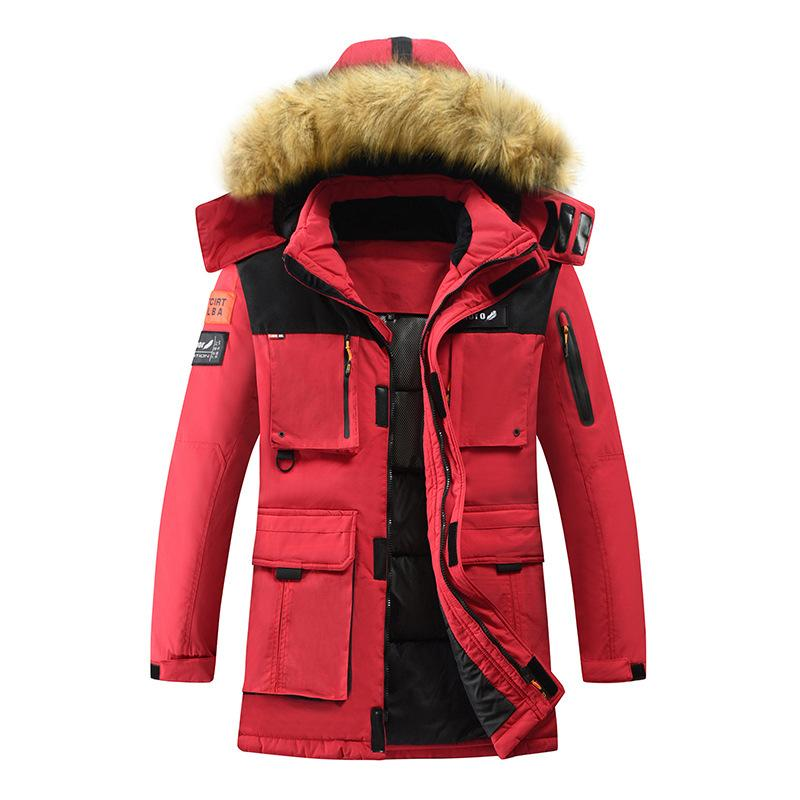 Men's Winter Coats Hooded Jacket Warm Thick Fur with Hood Outdoor Hiking Jackets