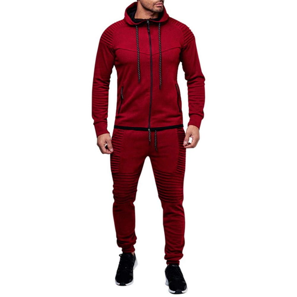 Mens Sportswear Casual Autumn Winter Warm Hooded Tracksuit Men Two Piece Sets with Hood 2PC Thick Jacket + Pants