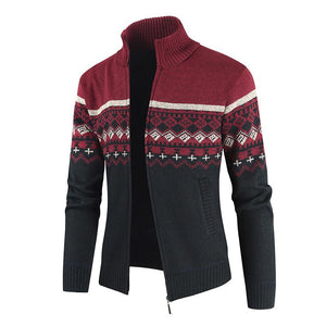 Men's Casual Slim Full Zip Thick Knitted Cardigan Sweaters