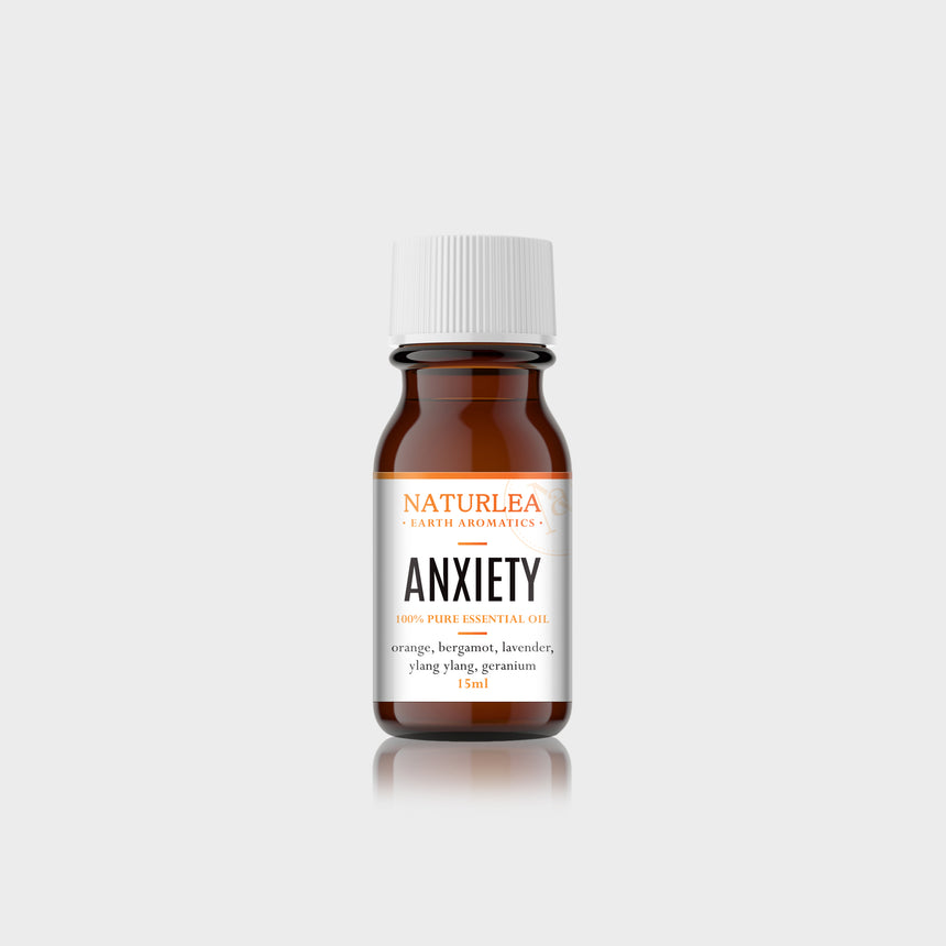 Naturlea Anxiety Essential Oil 15mL Bottle on Grey Background. Reduce stress and calm your senses. 100% Australian Made.