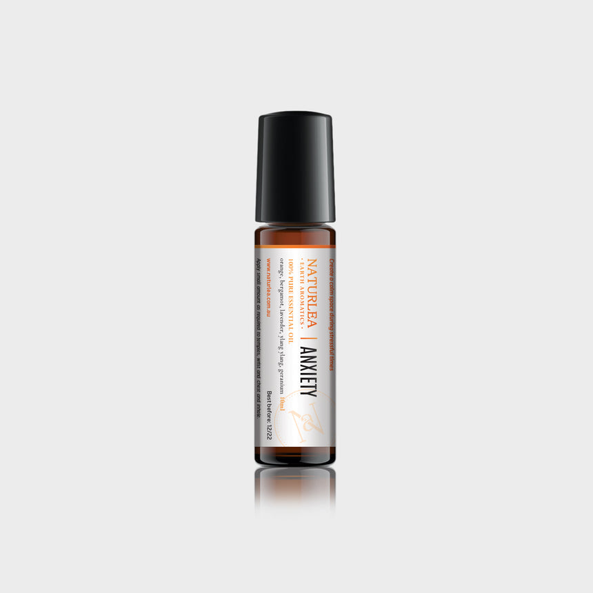 Naturlea Roll-On 10mL Bottle on Grey Background. With Vitamin E. Reduce stress and calm your senses. 100% Australian Made.