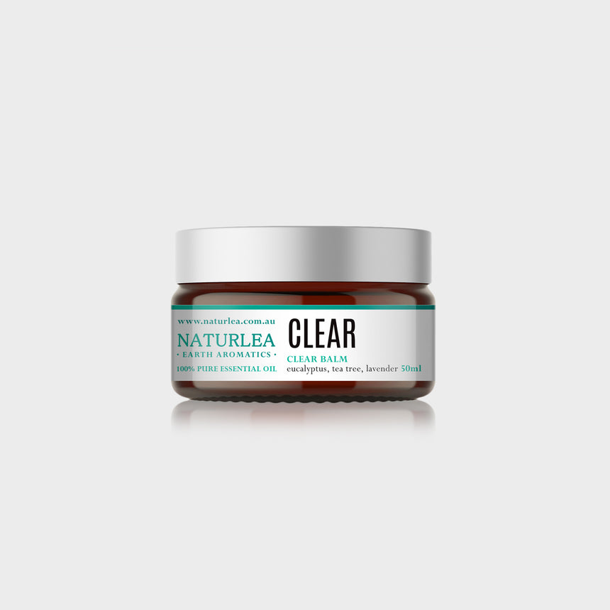 Naturlea Clear Balm 50g Jar on Grey Background. Reduce muscle aches and clear your sinus. 100% Australian Made.