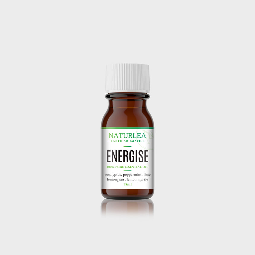 Naturlea Energise Essential Oil 15mL Bottle on Grey Background. Energise your mood and feel refreshed. 100% Australian Made.