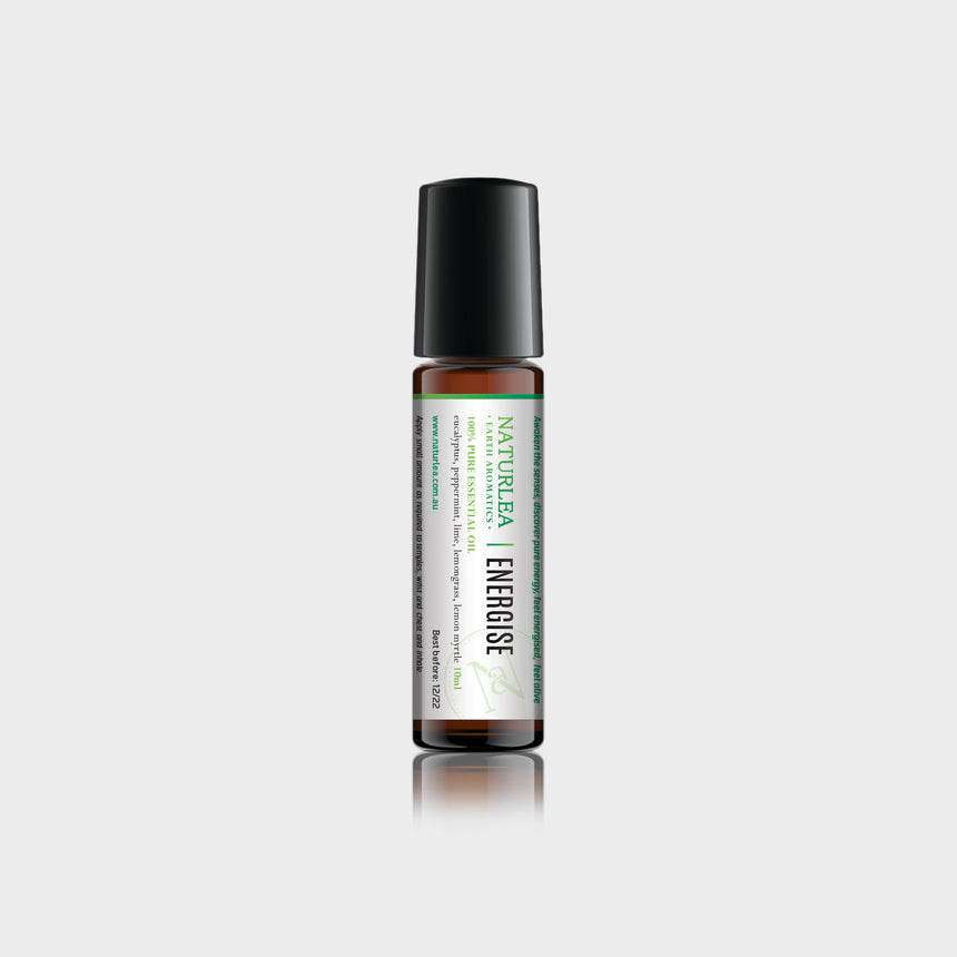 Naturlea Energise Roll-On 10mL Bottle on Grey Background. With Vitamin E. Energise your mood. 100% Australian Made.