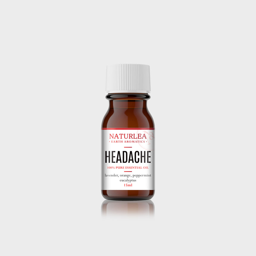 Naturlea Headache Essential Oil 15mL Bottle on Grey Background. Reduce headache pain, relax your mind. 100% Australian Made.