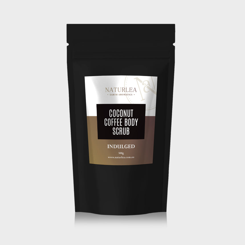 Naturlea Indulged Coconut Coffee Scrub 500g Pouch on Grey Background. Your time to rejuvenate. 100% Australian Made.