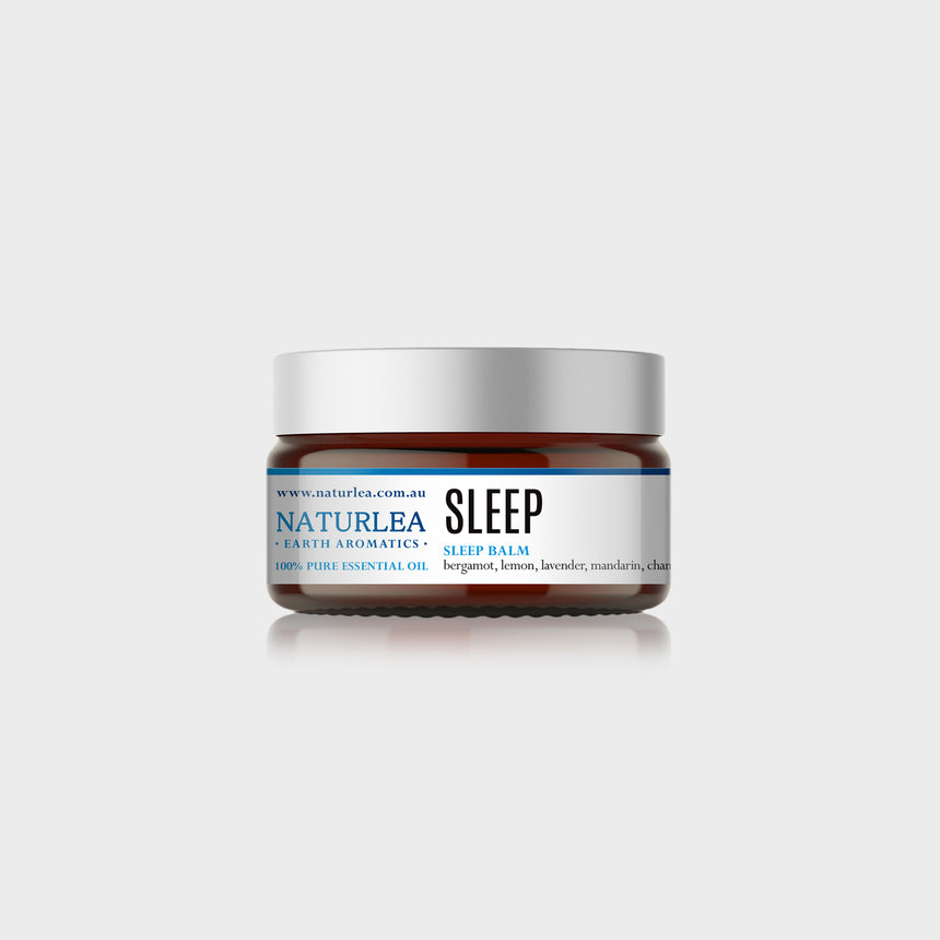 Naturlea Sleep Balm 50g Jar on Grey Background. De-stress and clear the mind before bed. 100% Australian Made.