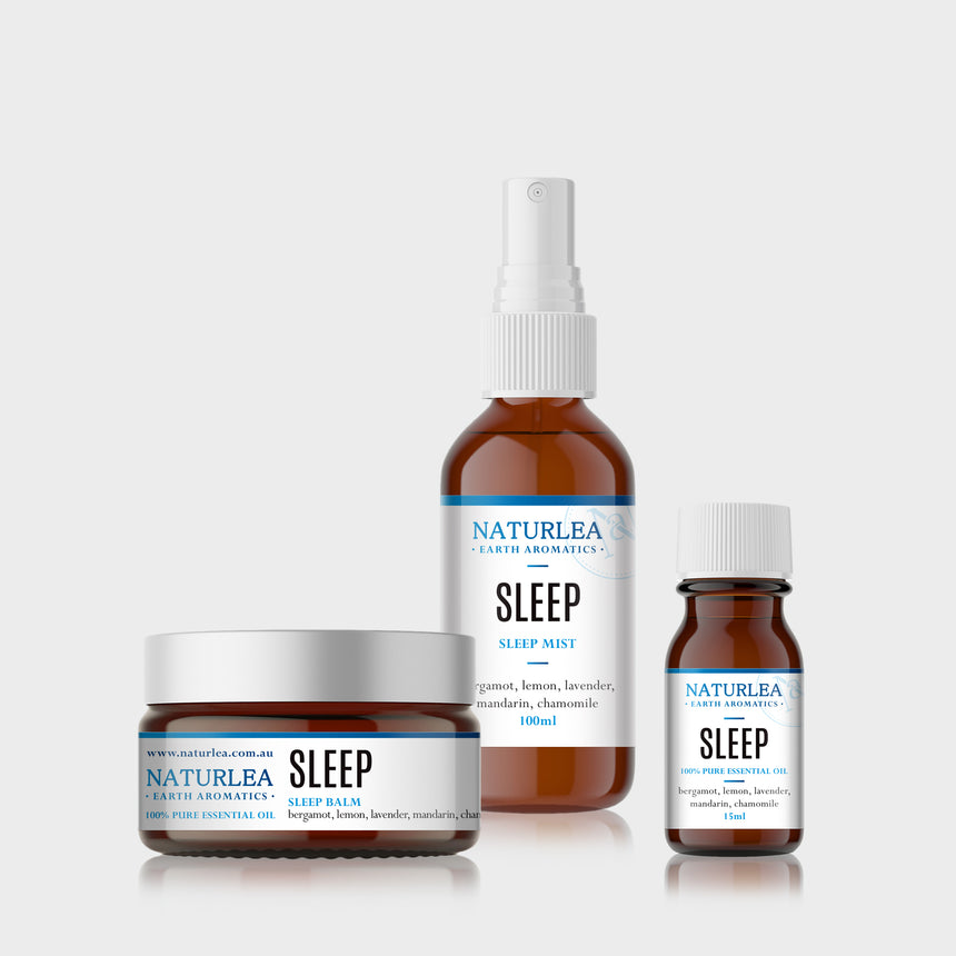 Naturlea Sleep Mini Kit. Mist spray, essential oil bottle and sleep balm grouped together. Relax and unwind.