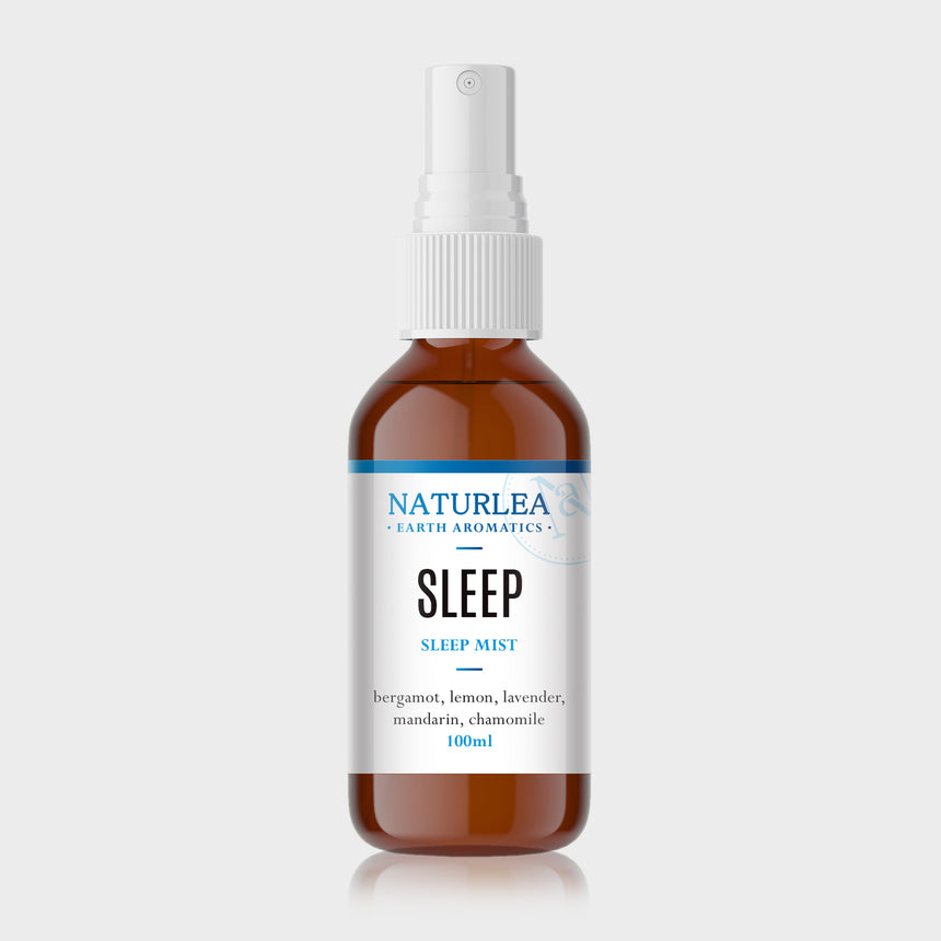 Naturlea Sleep Mist 100mL Bottle on Grey Background. De-stress and clear the mind before bed. 100% Australian Made.