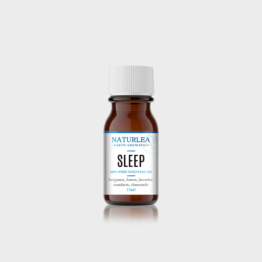 Naturlea Sleep Essential Oil 15mL Bottle on Grey Background. De-stress and clear the mind before bed. 100% Australian Made.
