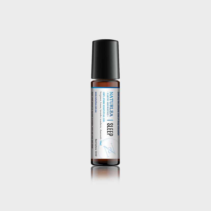 Naturlea Sleep Roll-On 10mL Bottle on Grey Background. With Vitamin E. Reduce tension, relax before bed. 100% Australian Made