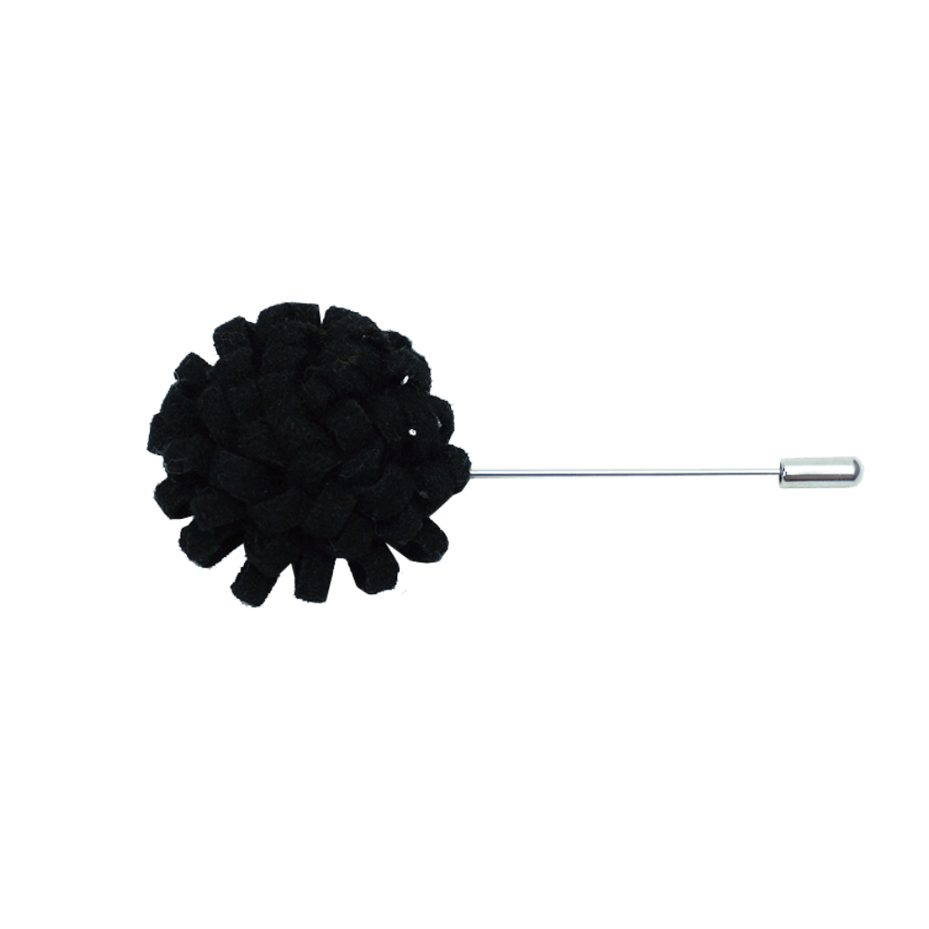 Men's Black Flower Lapel Pin