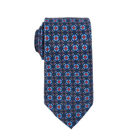 Blue Geometric Tile Tie