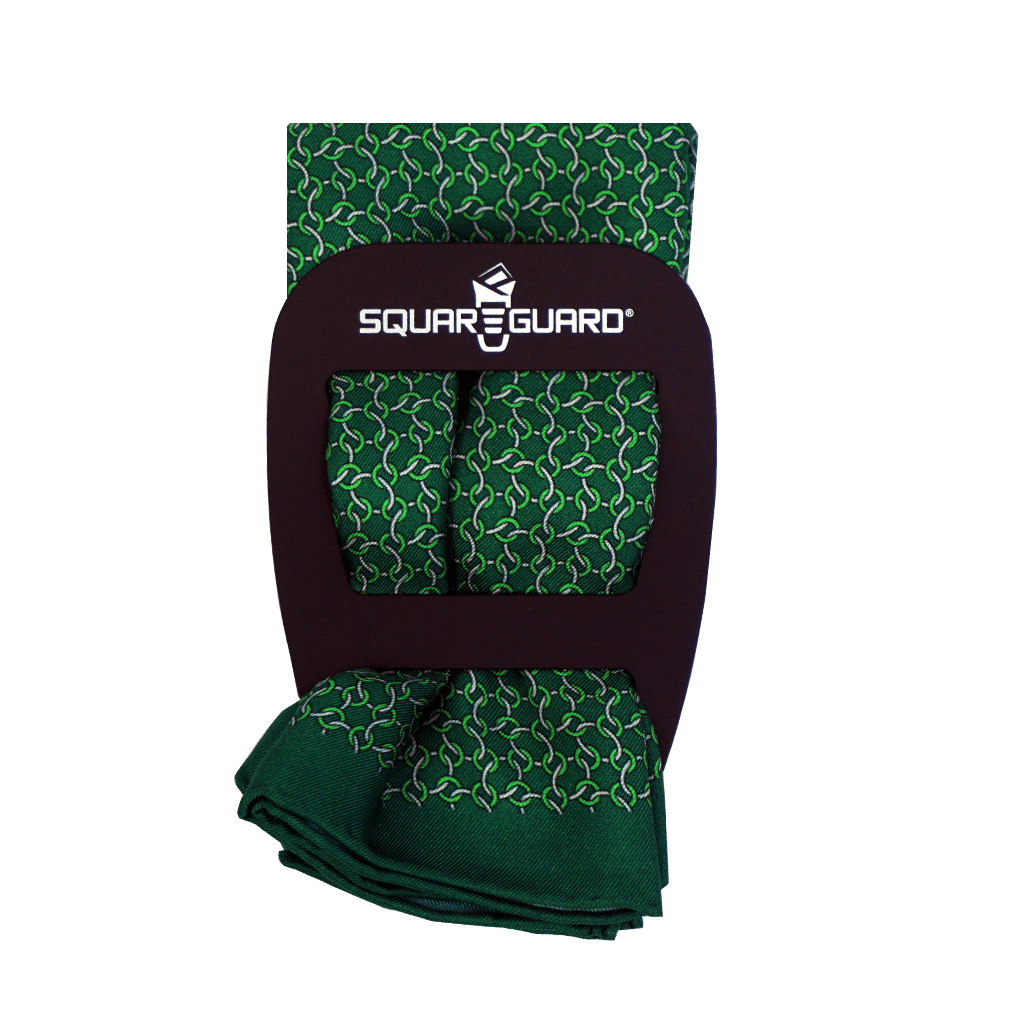Green Chain Links Silk Square Fold Pocket Square