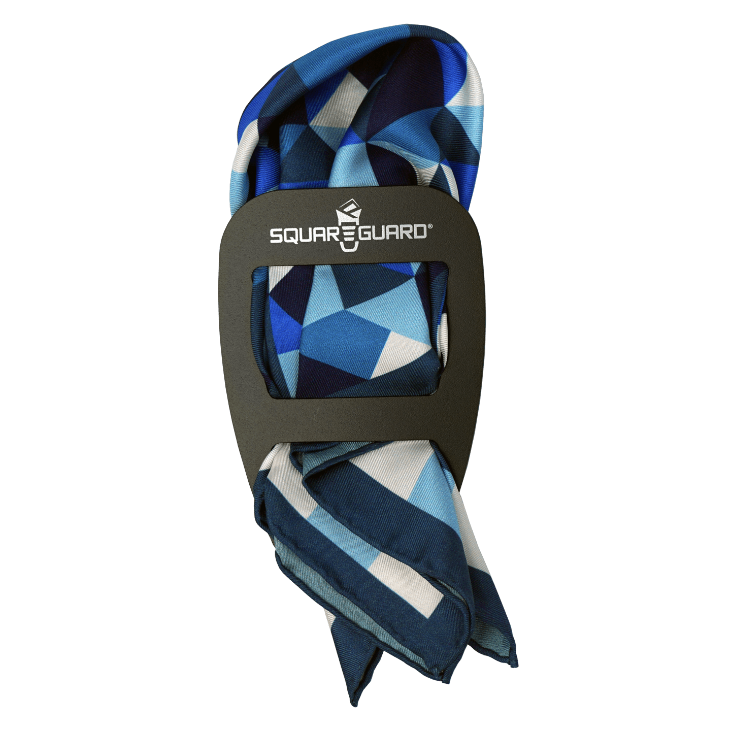 Blue Geometric Pocket Square Puff Fold