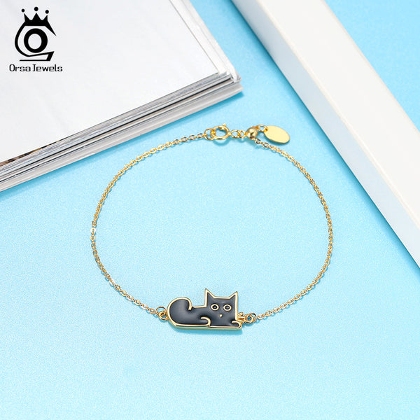925 Sterling Silver 18K Gold Plated Enamel Craft Cat Bracelet