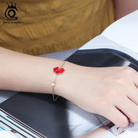925 Sterling Silver Red Enamel Craft Lock Design Bracelet