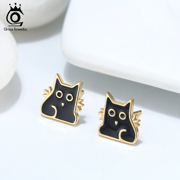 925 Sterling Silver 18K Gold Plated Enamel Craft Cat Stud Earring