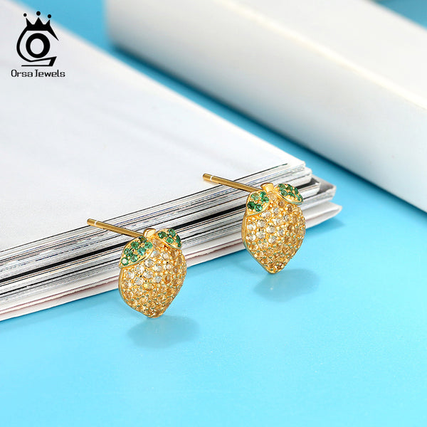 925 Sterling Silver 18k Gold Plated Lemon Stud Earring