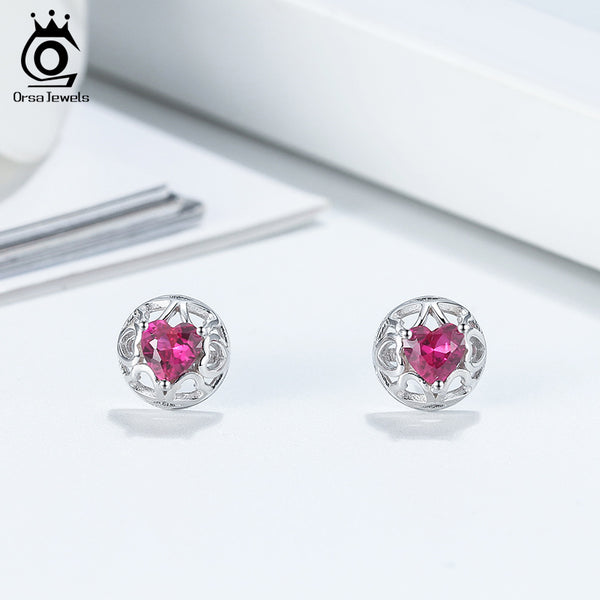 Heart Shape Purple Zirconia Hollow Out Stud Earring