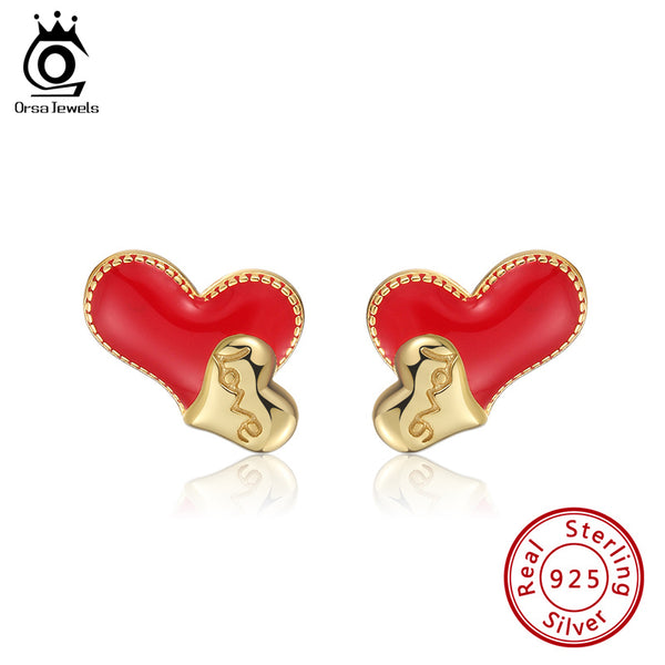 14K Gold Plated Love Heart Shape Enamel Craft Stud Earring
