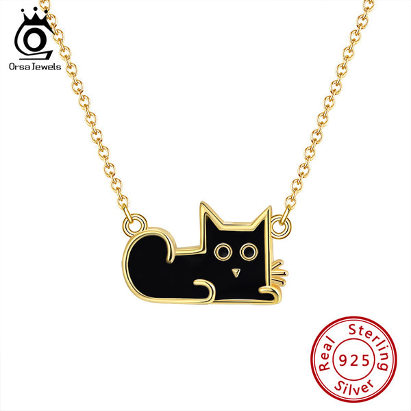 925 Sterling Silver 18K Gold Plated Enamel Craft Cat Necklace