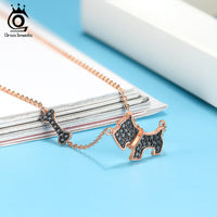 925 Sterling Silver Cute Black Dog Necklace