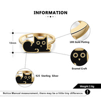 925 Sterling Silver 18K Gold Plated Enamel Craft Cat Ring