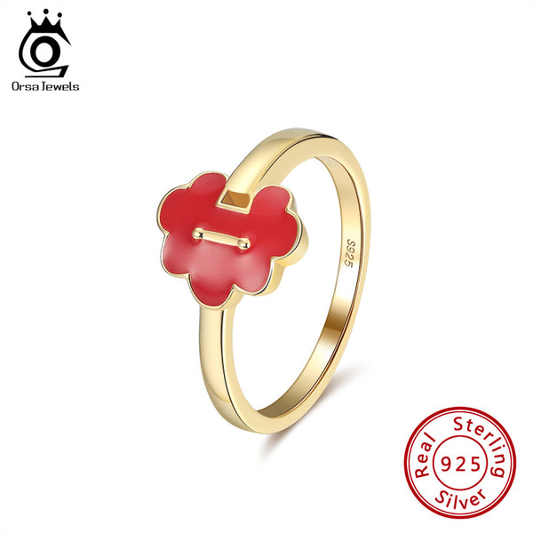 925 Sterling Silver Red Enameled Craft Lock Shape Ring