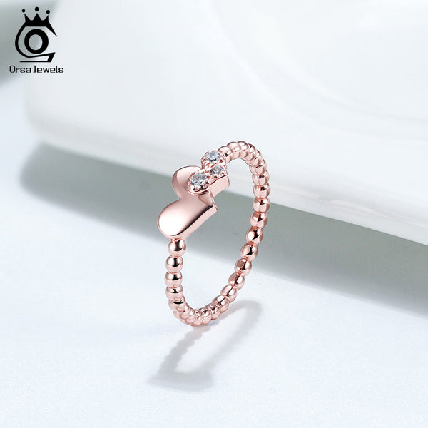 925 Sterling Silver Rose Gold Double Heart Shape Ring