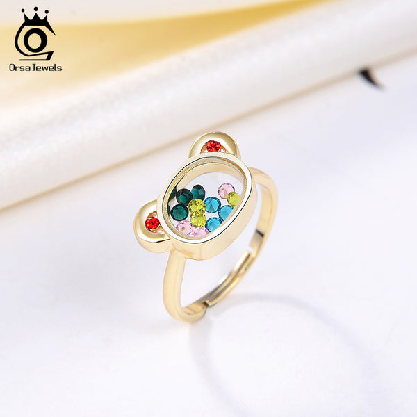14K Gold Plated 925 Sterling Silver Bear Ring