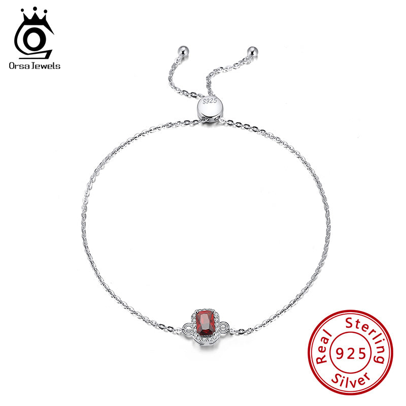 Sterling 925 Silver Necklace Crimson AAAA Zircon Emerald Cutting Pendant Clavicle Chain